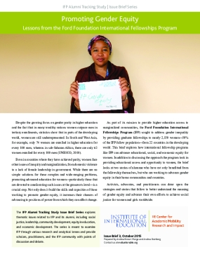 Promoting Gender Equity Lessons from the Ford Foundation International Fellowships Program