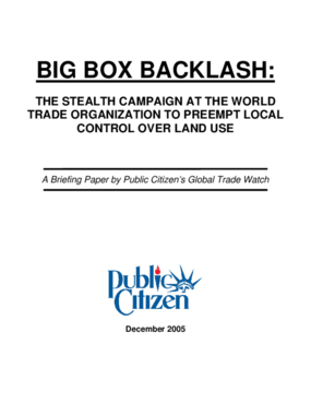 Big Box Backlash: The Stealth Campaign at the World Trade Organization to Preempt Local Control Over Land Use